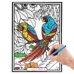Tableau velours Les perroquets