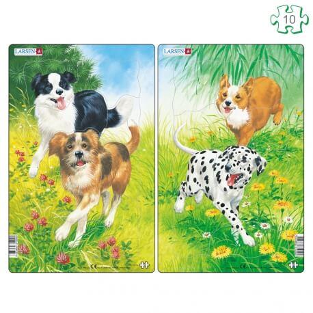 Lot de 2 puzzles avec contour Les chiens