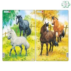Lot de 2 puzzles avec contour Les chevaux