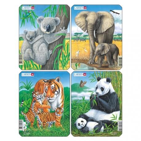 Lot de 4 puzzles Animaux du monde