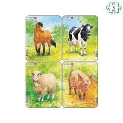Lot de 4 puzzles animaux Les animaux de la ferme