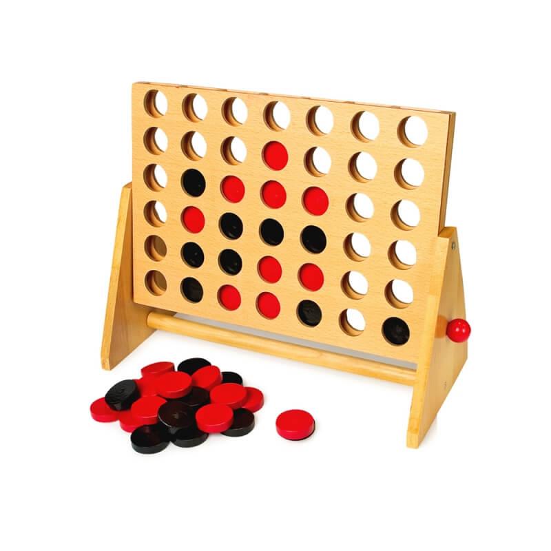 Puissance 4 en bois - jeux pour seniors et malvoyant - grand 4 en ligne