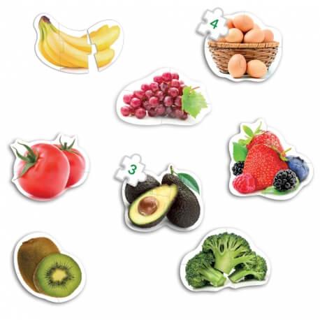 Grands puzzles aliments - Maxi puzzle fruits et légumes - Jeu cognitif