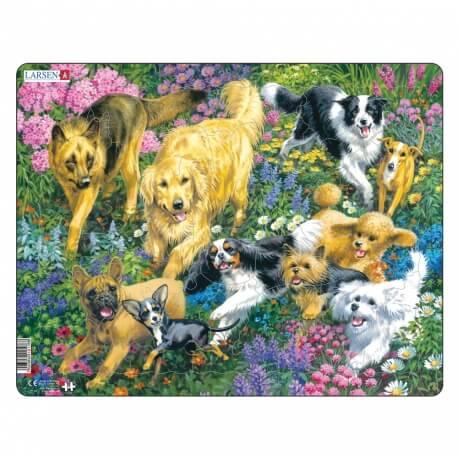 Puzzle avec contour Les chiens et les fleurs