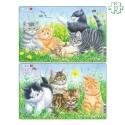 Lot de 2 puzzles avec contour Les chatons