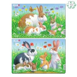Lot de 2 puzzles avec contour Les lapins