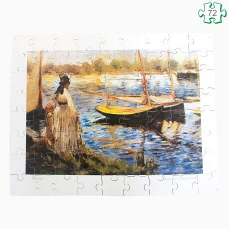 Puzzle grandes pièces en bois xxl – Tableau Rivière d'Argenteuil Manet