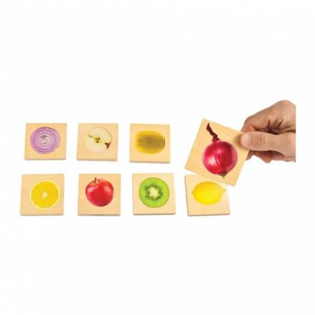 Jeu de mémory en bois Fruits et Légumes - pour atelier mémoire séniors