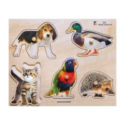 Puzzle à boutons 5 animaux - pour aider à la préhension des séniors