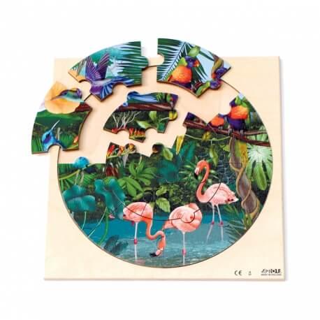 Puzzle rond cercle en bois - la forêt tropicale