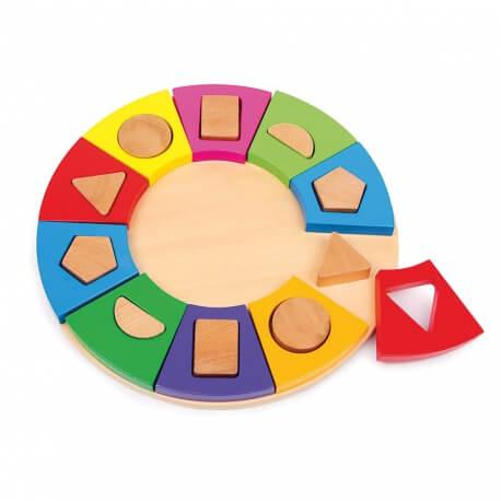 Cercle à encastrer - Puzzle jeu d'encastrement en bois motricité fine