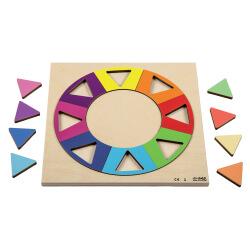 Puzzle cercle arc-en-ciel en bois - jeu de manipulation