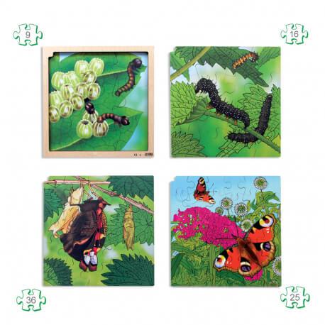 Puzzle évolutif avec contour Papillon – Atelier motricité fine en EHPAD