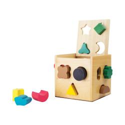 Cube à formes - jeux d'encastrement et manipulation en bois
