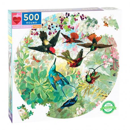 Puzzle rond 500 pièces - Oiseaux-mouches