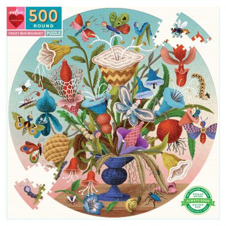 Puzzle rond 500 pièces Bouquet et insectes