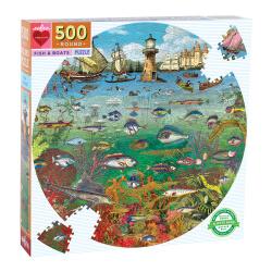 Puzzle rond 500 pièces - Poisson et bateaux