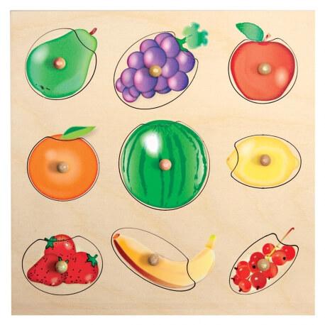 Puzzle boutons fruits en bois - à encastrer - Alzheimer trouble cognitif