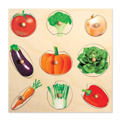 Puzzle boutons légumes en bois - à encastrer - ateliers cognitifs ehpad