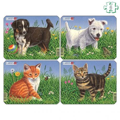 Puzzle 4 chiots et chatons