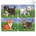 Lot de 4 puzzles Chiots et chatons