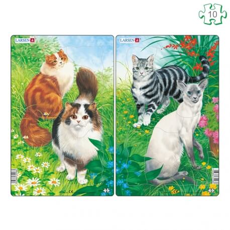 Lot de 2 puzzles avec contour Les chats