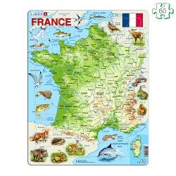 Puzzle carte de France - Puzzle cadre à contour et pièces épaisses