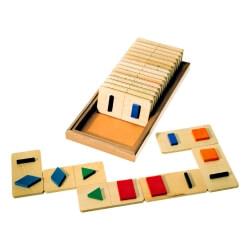 Dominos formes géométriques tactiles en bois - Dominos pour malvoyant